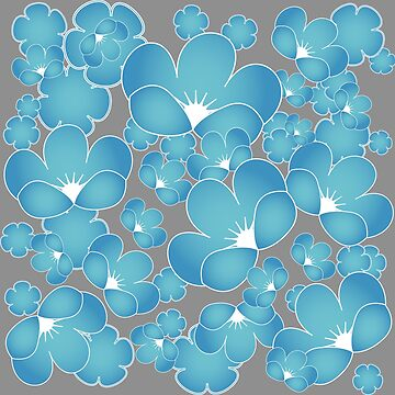 Blue flowers japanese style by 4Flexiway