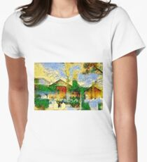 Vibrant Church Cemetery Women's Fitted T-Shirt