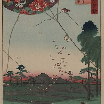 Distant view of Akiba of Enshu: kites of Fukuroi - Japanese pre 1915 Woodblock Print by ashburg