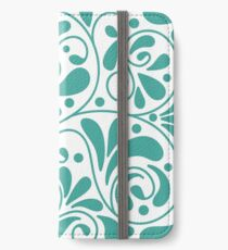 Playful turquoise leaves iPhone Wallet/Case/Skin