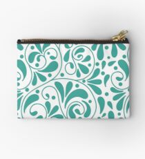Playful turquoise leaves Studio Pouch