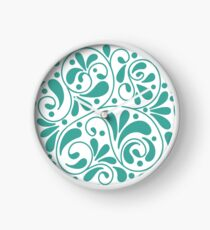 Playful turquoise leaves Clock