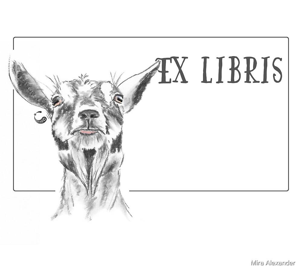 Ziege (ExLibris) - Charcoal Animals von Mira Alexander