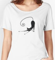 Black cat silhouette Women's Relaxed Fit T-Shirt