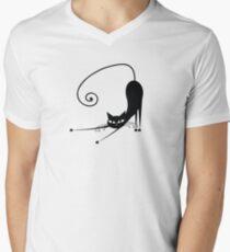 Black cat silhouette Men's V-Neck T-Shirt