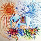 indian elephant walking under the sun & moon by melaniedann