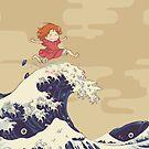 « Ponyo on the hokusai wave » par Sedeto