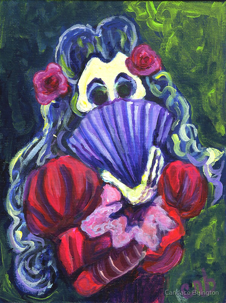 Day of the Dead Calavera Woman with a Fan by Candace Byington