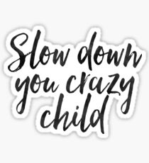 Slow Down You Crazy Child Watercolor - Cool Billy Joel Sticker T-Shirt Pillow Sticker