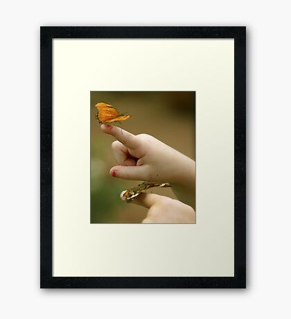 Little Hands And Butterflies Image and Poem Framed Print