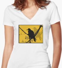 Raven Women's Fitted V-Neck T-Shirt