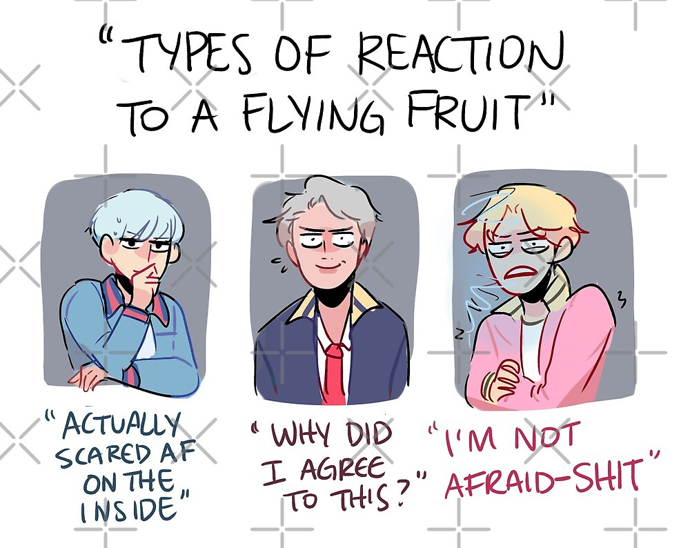 BTS: REACTIONS TO A FLYING FRUIT (RM, JM + SUGA)