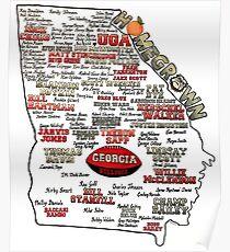 UGA Football Map Homegrown Poster