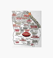 UGA Football Map Homegrown Art Board