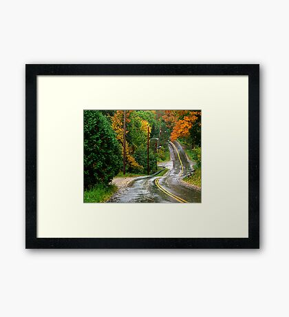 Rain on A Country Road Framed Print