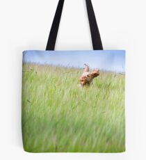 Orange and White Italian Spinone Dog in Action Tote Bag