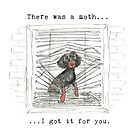 I got it for you. Sausage dog catching a moth illustration. by CandyMedusa