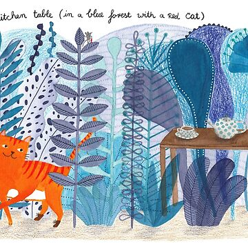 A Kitchen Table (in a blue forest with a red cat) by lillylotus
