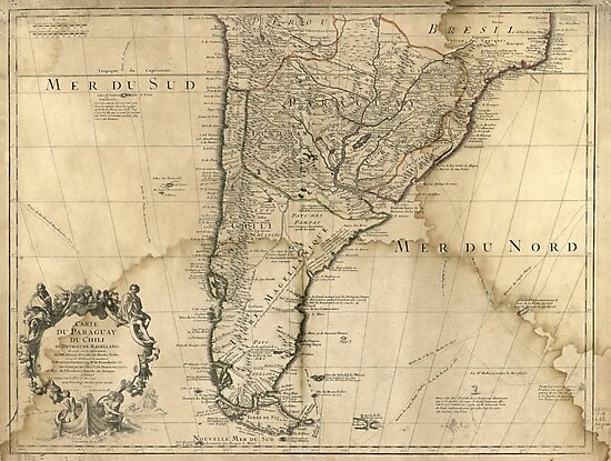 Map of Paraguay & Chili, South America (1718) by allhistory