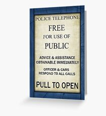 Free For Use Of Public - Vintage British Police Call Box Sign - C/W Frame Greeting Card
