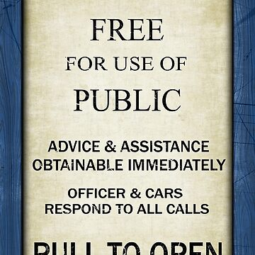 Free For Use Of Public - Vintage British Police Call Box Sign - C/W Frame by Ra12