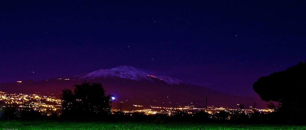 Mt.Etna by night by Andrea Rapisarda