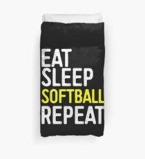 Eat Sleep Softball Repeat Duvet Cover
