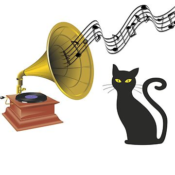 Jazzy Night - Musical Black Cat Listening to Gramophone by mkybb