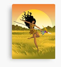 wild african huntress jumping in the jungle Canvas Print