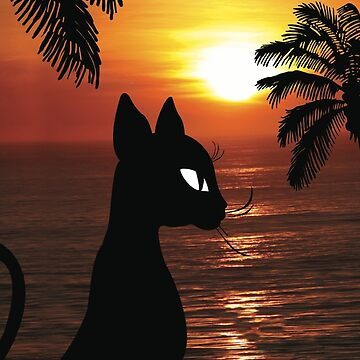 Black Cat Watching Ocean Sunset by mkybb