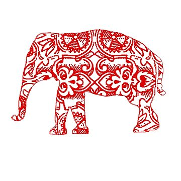 Red Elephant Gift for Women, Men, Girls & Boys - Cute Elephant - Vintage Design by ClineProducts