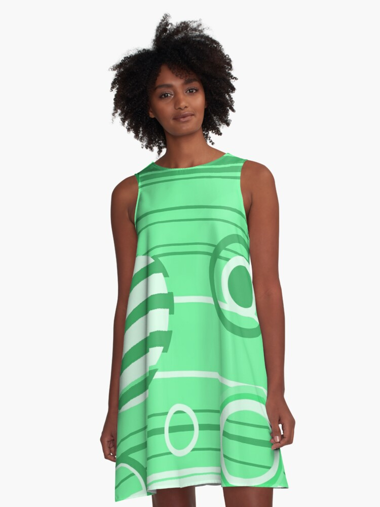 Green Abstract Pattern A-Line Dress Front