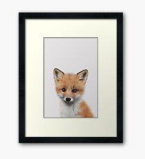 Baby fox - peekaboo animals collection Framed Print