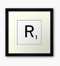 Scrabble Large Letter R with White Background Framed Print