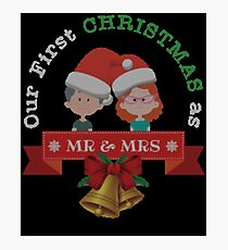 Our First Christmas As Mr and Mrs 2017 Ugly Sweater Knitted Design Gift For Married Couples Just Married T-Shirt Sweater Hoodie Iphone Samsung Phone Case Coffee Mug Tablet Case Photographic Print