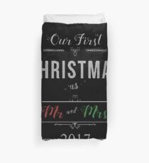 Our First Christmas as Mr and Mrs 2017  Ugly Sweater Knitted Design Gift For Just Married Married Couples T-Shirt Sweater Hoodie Iphone Samsung Phone Case Coffee Mug Tablet Case Duvet Cover