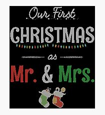 Our First Christmas as Mr and Mrs Ugly Sweater Knitted Design Gift For Just Married Married Couples T-Shirt Sweater Hoodie Iphone Samsung Phone Case Coffee Mug Tablet Case Photographic Print
