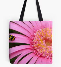 Pink Gerbera with yellow ladybug Tote Bag