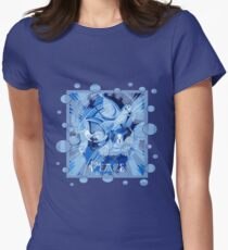 Dove With Celtic Peace Text In Blue Tones Women's Fitted T-Shirt