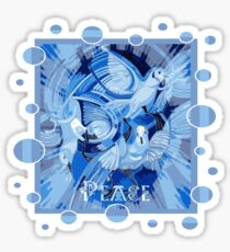 Dove With Celtic Peace Text In Blue Tones Sticker