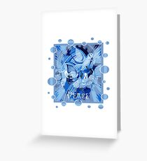 Dove With Celtic Peace Text In Blue Tones Greeting Card