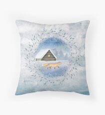 Winter Fox Watercolour Throw Pillow