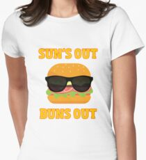 Sun's Out Buns Out Barbeque T-Shirt Women's Fitted T-Shirt