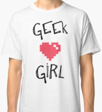 Geek Girl Nerd Pixel Heart  Classic T-Shirt