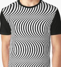Black and White Op Art Design, Stripes Appear Graphic T-Shirt