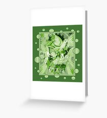 Dove With Celtic Peace Text In Green Tones Greeting Card
