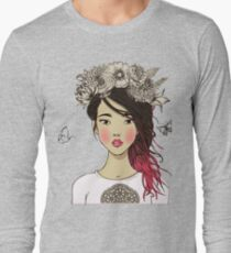 Young beautiful Asian woman with flowers T-Shirt