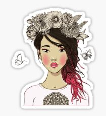 Young beautiful Asian woman with flowers Sticker