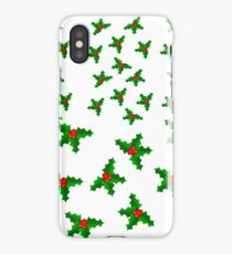 Christmas Holly White iPhone Case/Skin