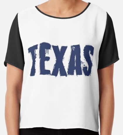 Texas State Grunge Letters Chiffon Top